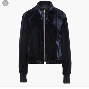 J Crew Factory Sapphire Velvet Bomber Jacket
